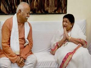 Lata Mangeshkar and RSS Chief Mohan Bhagwat