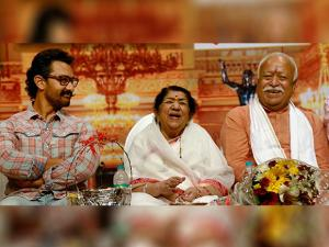 Lata Mangeshkar, RSS Chief Mohan Bhagwat and Bollywood actor Amir Khan