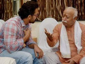 RSS Chief Mohan Bhagwat with Bollywood actor Amir Khan