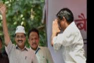 AAP convener Arvind Kejriwal arrives at e- rickshaw drivers rally