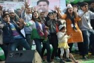 AAP leaders, workers rejoice landslide win in Delhi