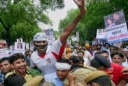 AAP stages protests, demands sack of four BJP ministers
