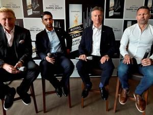 Tennis legend Boris Becker, ace shooter Abhinav Bindra, former Australian cricketer Steve Waugh and legendary Welsh footballer Ryan Giggs during an event