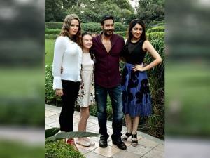 Ajay Devgn along with actress Sayesha Saigal, Erika Kaaras Olga and Abigail Eames