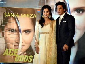 Sania Mirza and Shahrukh Khan during the release function of an autobiography of Sania Mirza