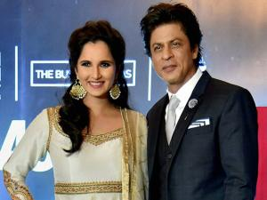 Sania Mirza and  Shahrukh Khan during the release function of autobiography of Sania Mirza