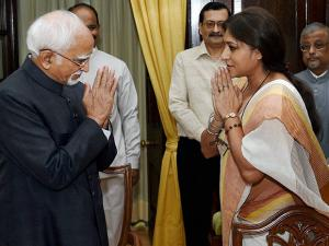 BJP leader Roopa Ganguly with Vice President & Rajya Sabha Chairman Hamid Ansari after taking oath