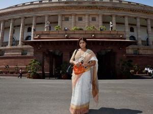 Newly inducted Rajya Sabha member Roopa Ganguly at Parliament house after taking oath
