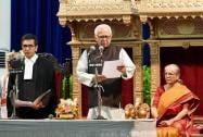 Chief Justice of Allahabad High Court Dhananjaya Y Chandrachud greets U P Governor Ram Naik