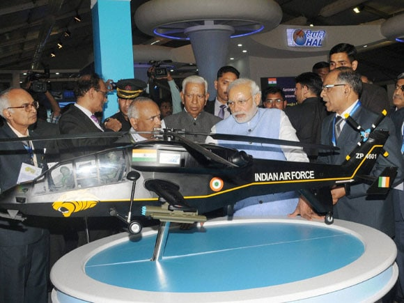 Aero India 2015, Prime Minister of India,  Narendra Modi, Defence Minister of India,  Manohar Parrikar, Karnataka Governor, Vajubhai Vala, Yelhanka, Bengaluru
