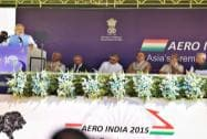 Prime Minister Narendra Modi speaks during the inauguration of the Aero India 2015
