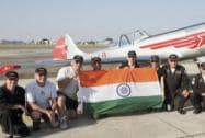 British Pilots with the Indian National Flag during AERO INDIA 2015