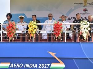 inauguration of the 11th biennial edition of AERO INDIA 2017 at Yelahanka Air base in Bengaluru