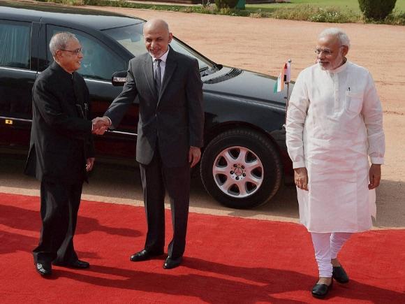 President of India, Pranab Mukherjee, Prime Minister of India, Narendra Mod, President of Afghanistan, Mohammad Ashraf Ghani, Rashtrapati Bhavan
