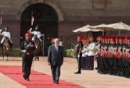 Mohammad Ashraf Ghani President of Afghanistan receives the ceremonial welcome in the forecourt of Rashtrapati Bhavan