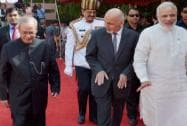 President Pranab Mukherjee with his Afghan counterpart Mohammad Ashraf Ghani and Prime Minister Narendra Modi
