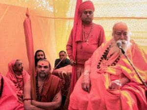 Hindu priest Shankaracharya Swami Swaroopanand addresses a press conference during 'Magh Mela' festival in Allahabad