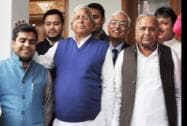 SP chief Mulayam Singh Yadav with RJD chief Lalu Prasad Yadav and Lok Sabha MP Tej Pratap