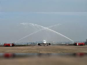 First Airbus 320 neo plane receiving a water cannon salute at Avionics Complex, Air India hanger IGI in New Delhi