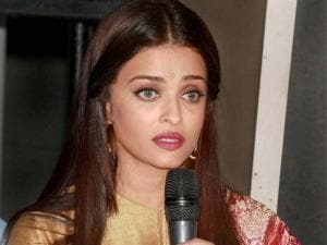 Actress Aishwarya Rai Bachchan speaks during the first poster launch of Film Sarbjit