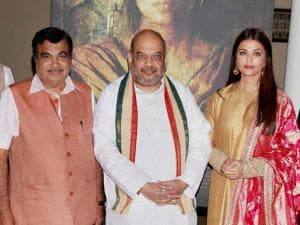 BJP President Amit Shah, Transport Minister Nitin Gadkari, actress Aishwarya Rai Bachchan during the frist poster launch of Film Sarbjit
