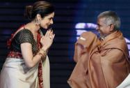 Bollywood actress Sri Devi felicitating music director  Ilaiyaraaja during the music launch of 'Shamitabh'.