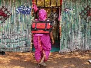 60-year-old Kanta More walks down to her school every morning