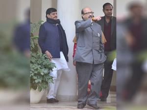Samajwadi Party leaders Shivpal Singh Yadav and Amar Singh