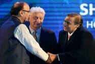 Arun Jaitley shakes hands with Reliance Industries chairman Mukesh Ambani