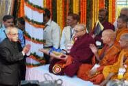 President, Pranab Mukherjee greets monks afterpaying tributes to Babasaheb  B.R. Ambedkar