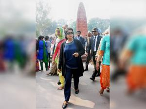 President of Mauritius Ameenah Gurib during a visit to Jallianwala Bagh in Amritsar