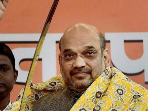 BJP President Amit Shah holds a sword during a felicitation function for his re-election to the party's chief post at the party headquarters in New Delhi
