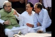 BJP National President Amit Shah and MoS, PMO Jitendra Singh