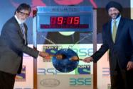 Big B with NP Singh, Ashish Chauhan at BSE
