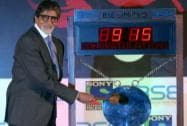 Senior Bachchan at BSE for TV show promotion