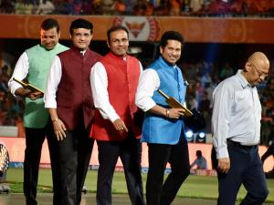 Sachin Tendulkar, Sourav Ganguly, Virender Sehwag and VVS Laxman after their felicitation  at the opening ceremony