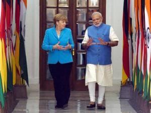 Prime Minister Narendra Modi with German Chancellor Angela Merkel
