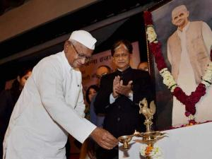 Social activist Anna Hazare during release of former Prime Minister Lal Bahadur Shastri's biography 01