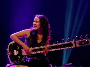 Sitar player and composer Anoushka Shankar performs during a concert in Chennai