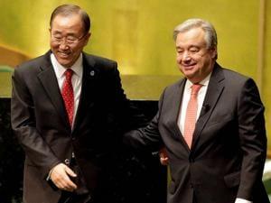 Current Secretary-General Ban Ki-moon hugs U.N. Secretary-General designate Antonio Guterres