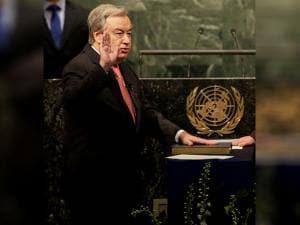 The United Nations Secretary-General designate Antonio Guterres is sworn