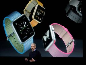 Apple CEO Tim Cook, speaks at an event to announce new products and an update to the Apple Watch at Apple headquarters