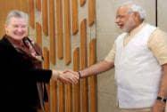 Nancy Powell with Narendra Modi
