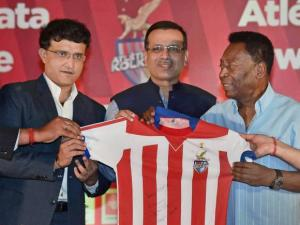 Legendary Soccer player Pele, Sourav Ganguly and Owner of Atletico de Kolkata Sanjiv Goenka