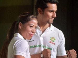 "Mary Kom and Randeep Hooda  at Ariel ""Be the Change"" in Mumbai"
