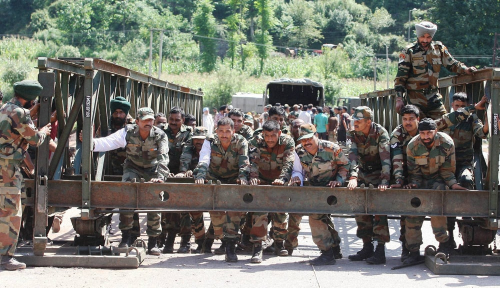 Army Jawans, reconstruct, bridge, damaged, flash floods, Poonch