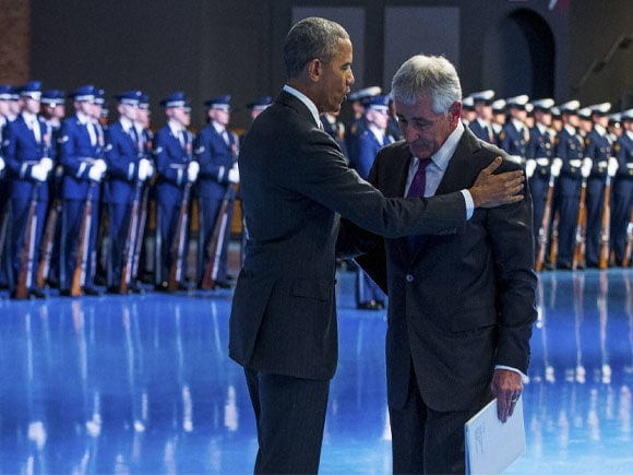 President Barack Obama, Secretary of Defense Chuck Hagel, Vice President Joe Biden, Fort Myer, Va. Obama,