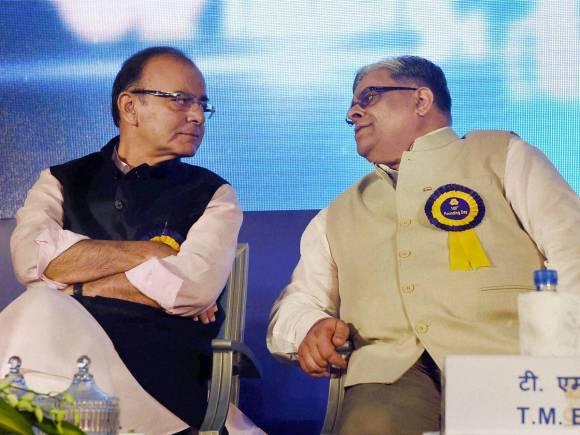 Indian Bank, 109th Anniversary, Indian Bank 109th Anniversary, Finance Minister of India, Arun Jaitley, Indian Bank CEO, Mahesh Kumar Jain, T M Bhasin