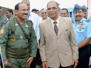 Air Chief Marshal Arup Raha, the Chief of Air Staff after flying the indigenously designed and produced Light Combat Aircraft (Tejas)  for about 30 minutes at HAL airport in Bengaluru