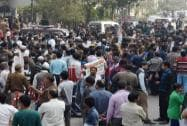 "Crowd at Delhi Chief Minister Arvind Kejriwal's ""Janata Darbar"""